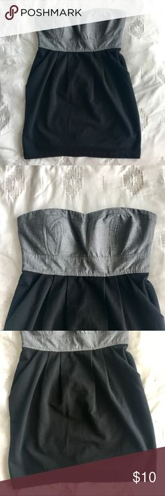 Strapless tube top Tube top dress. No pockets. Black jersey bottom, polyester/linen material top. Could maybe be a dress, buuuuttt it's pretty short Dresses Mini