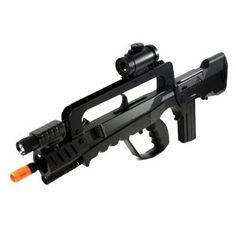 Soft Air Famas Tactical Rifle/Red Dot Scope/Silencer/Light, Black # airsoft guns $44.04