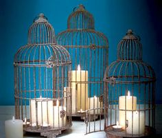 bird cages filled with candles /beautiful decoration