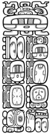 A drawing of the 13th Bak'tun Long Count date as it might have been depicted by an ancient Maya scribe. Image Credit: Mark Van Stone.