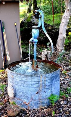 "Custom Made Country-Style Water Fountain ""The Blue Pump''"