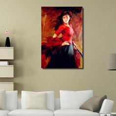 Handmade lady Spanish flamenco dancer oil painting woman figure dance on canvas modern office art decoration for wall decor
