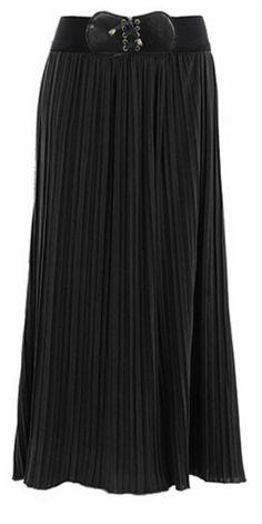 Black Pleaded Maxi Skirt Sizes : S-XL Price $ 19.99 Order at www.jupedeabby.com