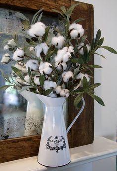 Farmhouse Decor Watering Can Cotton Arrangement Watering