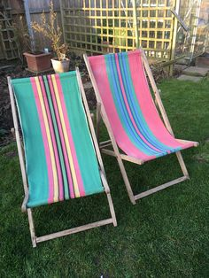 Pair of old vintage wooden deck chairs, in worn and used condition, the wooden frames are faded with some worm holes, the cloth seats are a little faded and marked in places, please see all images. Deck Chairs, Outdoor Chairs, Outdoor Furniture, Outdoor Decor, Wooden Decks, Wooden Frames, Pairs, French, Etsy