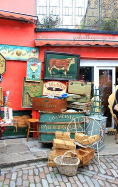 The Portobello Market in charming Notting Hill ~ London. One of my favorite markets.