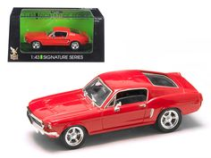 1968 Ford Mustang GT Car 1/43 Diecast Model Car by Road Signature - 1968 Ford Mustang GT Diecast Car Model 1/43 Red Die Cast Cat Signature Series by Road Signature. Made of diecast with some plastic parts. Detailed interior, exterior. Has plastic display stand with plastic show case. Dimensions approximately L-4 inches long. Please note that manufacturer may change packing box at anytime. Product will stay exactly the same.-Weight: 1. Height: 5. Width: 9. Box Weight: 1. Box Width: 9. Box…