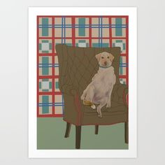 Dog in a chair #5 Golden Lab Art Print