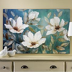 Our Shades of Blue Canvas Art Print features a collection of flowers seemingly swaying in the wind! Blue Canvas Art, Blue Art, Canvas Wall Art, Wall Mural, Canvas Paper, Canvas Size, Wall Decor, Art Floral, Floral Wall