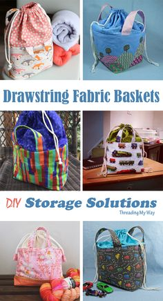 Sewn by YOU ~ Drawstring Fabric Baskets - Diy Fabric Basket Diy And Crafts Sewing, Diy Sewing Projects, Sewing Tutorials, Bag Tutorials, Sewing Diy, Hand Sewing, Bag Patterns To Sew, Sewing Patterns, Fabric Basket Tutorial