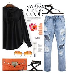"""Yoins.com: Say Yes! To being COOL"" by hamaly ❤ liked on Polyvore featuring Lancôme, Oliver Peoples, shoes, ootd, bags, blouse, yoins, topsets and topset"