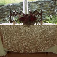 Rose Gold A Sequin Table Runners (20) and Sweetheart Table Cloth
