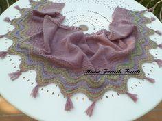 Châle tricot dentelle laine naturelle : Echarpe, foulard, cravate par marie-french-touch