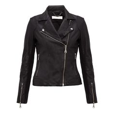 Mila Leather Jacket ($400) ❤ liked on Polyvore featuring outerwear, jackets, tops, coats, black, pocket jacket, real leather jackets, fleece-lined jackets, 100 leather jacket and lined leather jacket