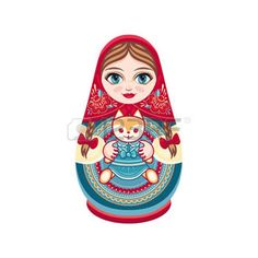 poupee russe: Matryoshka. Russian folk nesting doll. Babushka doll. Vector illustration on white background Illustration