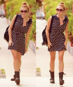 Miley Cyrus in Polka Dot and boots, Candid, 2012