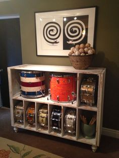 Girls dresser into drum storage