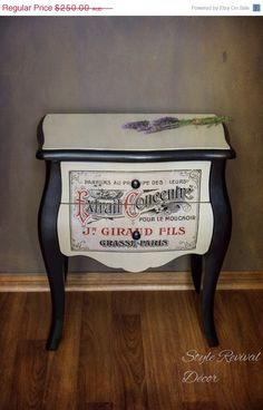 Side Table With French Perfume Label by StyleRevivalDecor on Etsy