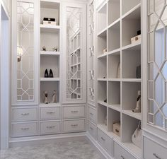 Closet Space - Mirrored Cabinet Doors with Fretwork.
