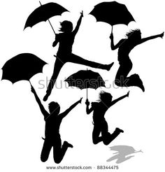 Girl Jumping with Umbrella - black silhouettes