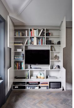 Hidden storage for tv