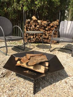 LARGE, six-sided fire pit designed to complement clean modern home and garden designs. Made from laser-cut and bent 3/16 steel plate. Also