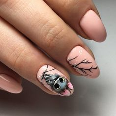 181 ideas to create the best halloween nail decoration page 30 Owl Nails, Xmas Nails, Halloween Nails, Christmas Nails, Pink Nails, Minion Nails, Owl Nail Designs, Manicure Nail Designs, Nail Manicure