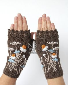 Embroidered Gloves, Hand Knitted Fingerless Gloves, Gloves With Chamomile, Clothing And Accessories, Gloves & Mittens, Gift Ideas, Christmas Gift, For Her MADE TO ORDER These unique hand knitted accessory can be a wonderful accent to Your clothes :) Gloves are: length: 18 cm