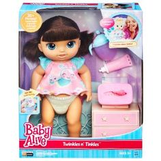 Baby Alive Twinkles N' Tinkles Brunette Doll by Hasbro, Multicolor Baby Alive Doll Clothes, Baby Doll Toys, Baby Alive Dolls, Little Mermaid Toys, Muñeca Baby Alive, Cool Fidget Toys, Barbie Doll Set, Baby Doll Nursery, Baby Doll Accessories