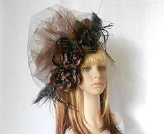 Brown Flower Tulle Fascinator With Feathers | IrmasElegantBoutique - Accessories on ArtFire