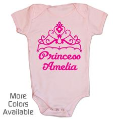 Personalized Pretty Princess One-Piece | Her Royal highness needs a little pink and a little sparkle in her life!