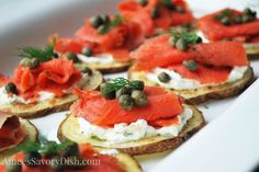 Salmon Potato Rounds made with Greek Yogurt - the perfect game day snack.
