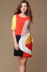 Multi Short Sleeve Straight Silk Dress