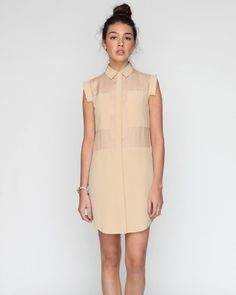 T by Alexander Wang Combo Shirtdress In Flesh