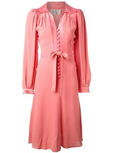 Hair would be long, soft n bouncy.  Shoes?  mmm... OSSIE CLARK VINTAGE Belted Dress #vintage, #farfetch