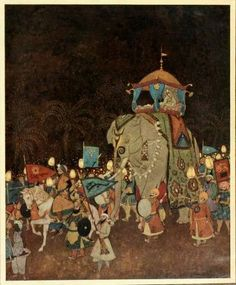 E is for Elephant Entourage (from The Arabian Nights by Dulac)