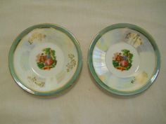 "butter pat plates | ... FINE PORCELAIN China Butter Pat Plates 4-1/8"" ~Handpainted~I ridized"