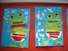 Kikker van cirkels en ovaaltjes. Kindergarten Art, Preschool, Winter Project, Vand, Conte, Crafts For Kids, Creations, Diversity, Projects