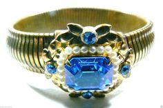 Vintage Coro Signed Goldtone Metal Blue Crystal White Pearl Faux Bangle Bracelet | eBay