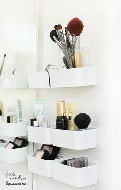 Easy DIY Makeup Storage 2 ways from Fresh Crush & 11 Brillant IKEA Hacks for a Super-Organized Bathroom   DIY Projects ...