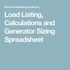Lighting design calculation in a building step by step load listing calculations and generator sizing spreadsheet greentooth Image collections