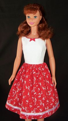 My Size Barbie Doll Red Orange Dress by SewDollyCute on Etsy - $23 - https//:www.etsy.com/shop/sewdollycute