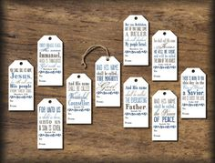 Christmas Gift Tags. Names of Jesus. Instant download printable. DIY digital print. Bible verse. Tags for presents. Holiday bag label.