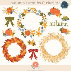 Autumn Wreaths and Clusters Digital Clip Art  12 by CitrusandMint