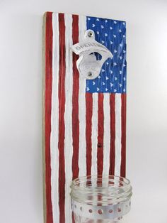 wall mount bottle opener reclaimed wood mason jar cap catcher American flag stars and stripes