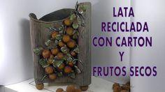 DIY PAPELERA CON UNA LATA, RECICLADA,CARTON Y FRUTOS (+lista de reproduc...