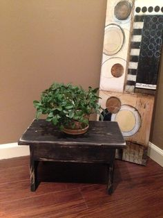BLACK*SOLID PINE WOOD STEP/FOOT STOOL/PLANT STAND*Hand Crafted/Painted in USA  #NaivePrimitive
