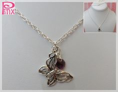 'Beautiful Butterfly and Amethyst Swarovski Necklace' is going up for auction at  9pm Wed, Jun 27 with a starting bid of $5.