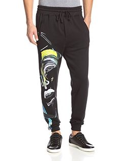 www.myhabit.com  Soft fleece knit jogger sweats in a skinny fit, elasticized waistband and ribbed knit cuffs, abstract face print, zipped pockets
