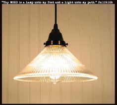 Glass PENDANT Light LARGE Holophane Cone